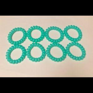 Teal/ Aqua Spiral Hair Ties- 8 pcs